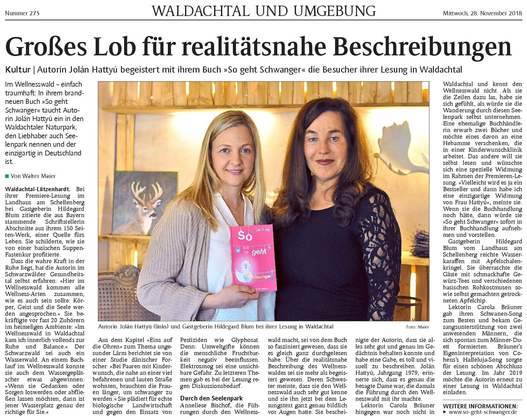 Schwarzwälder Bote Nachbericht Premieren-Lesung
